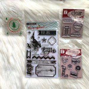 {3/$25} Holiday clear cling stamps NEW Santa Xmas